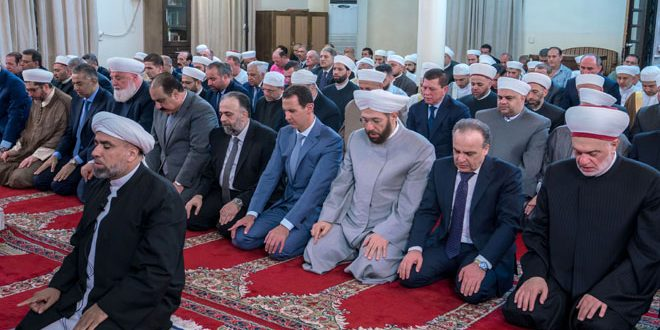 Syrian President performs Eid-Al-Adha prayer at Al-Afram Mosque in Damascus