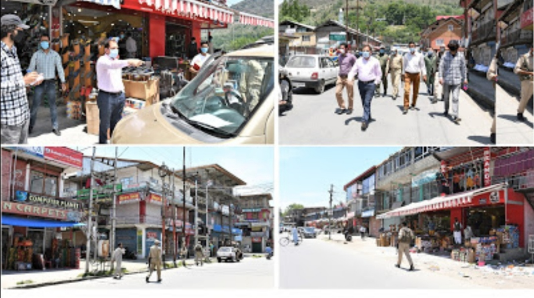 Permissible Activities Lockdown 4.0 - DC Ganderbal inspects various areas, warns strict action against guideline violators
