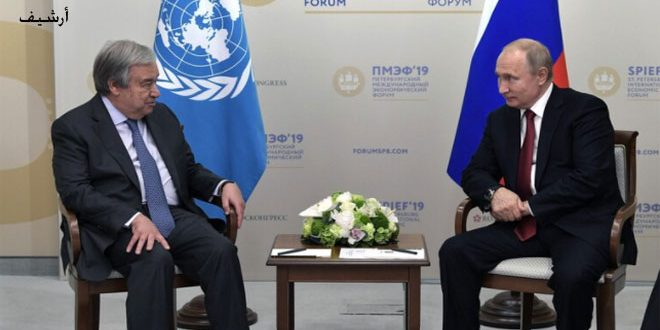 Putin and Guterres worried over tightening unilateral Western sanctions on Syria