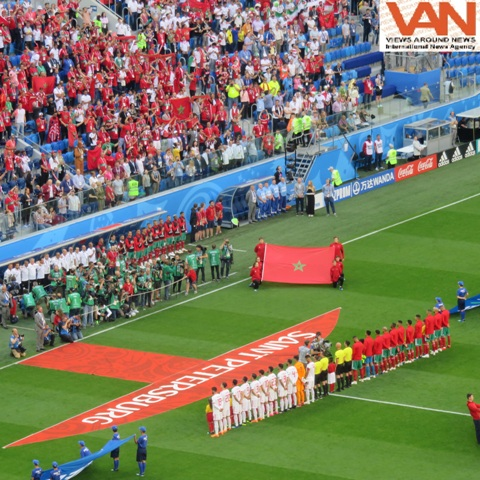Moments of National Anthem before match